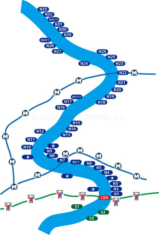 チャオプラヤーエクスプレスボート路線図